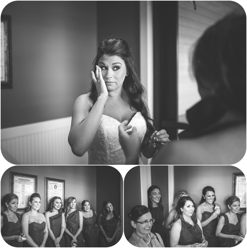 tears during bridal party first look at fasig tipton wedding