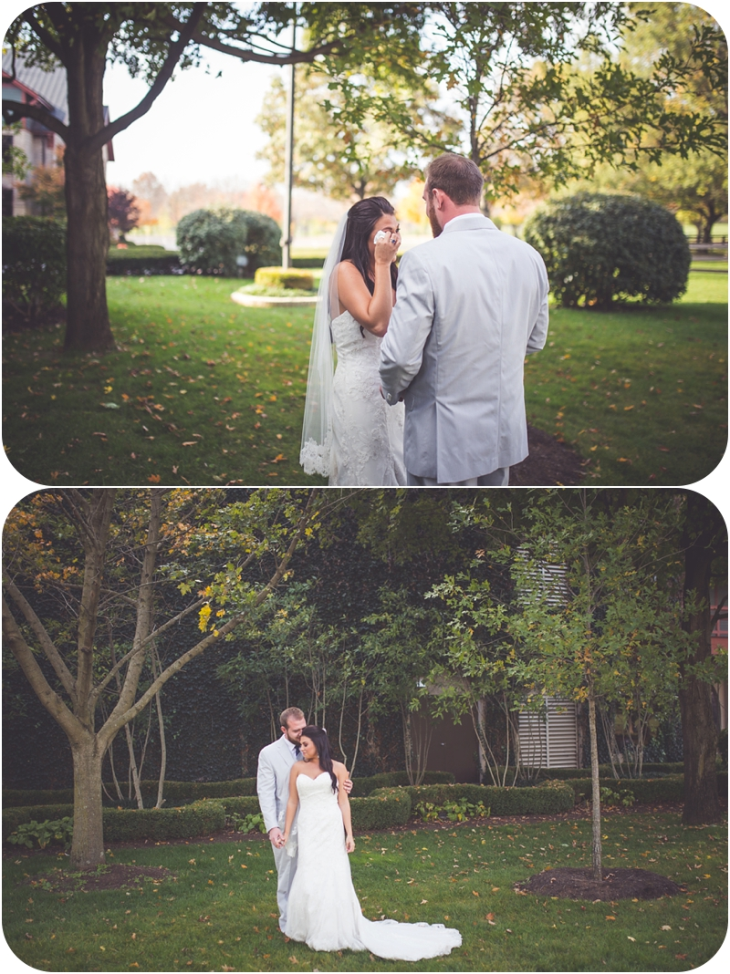 non traditional first look for bride and groom at farm wedding