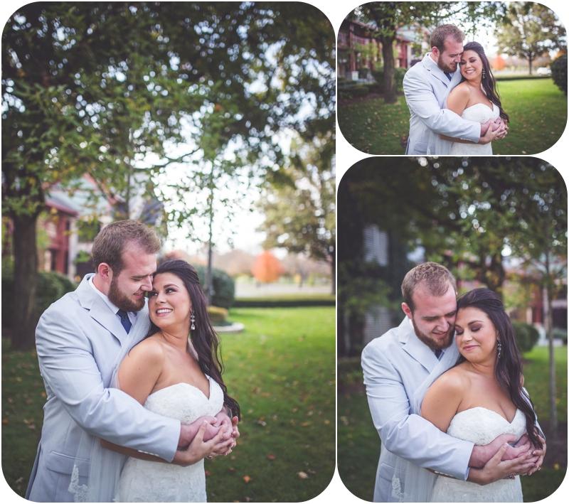 groom hugs bride during wedding portraits at fasig tipton lexington