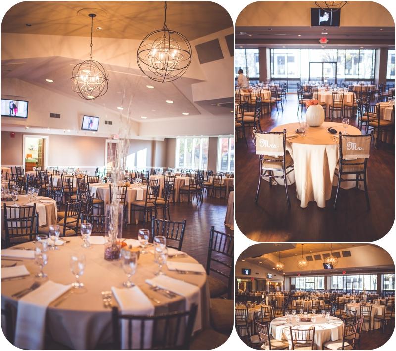 reception hall at fasig tipton october wedding