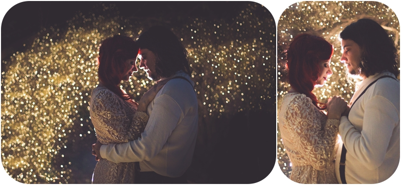 night portrait with gold glitter falling on bride and groom, adventurous vancouver island wedding photographer