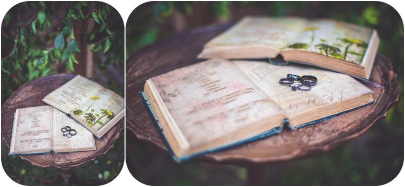diy wedding vows in vintage book with wedding rings