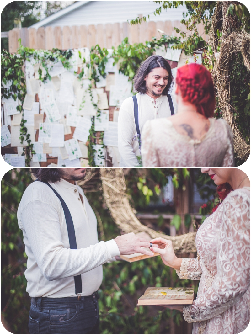 happy couple exchanging rings during moulin rouge inspired wedding
