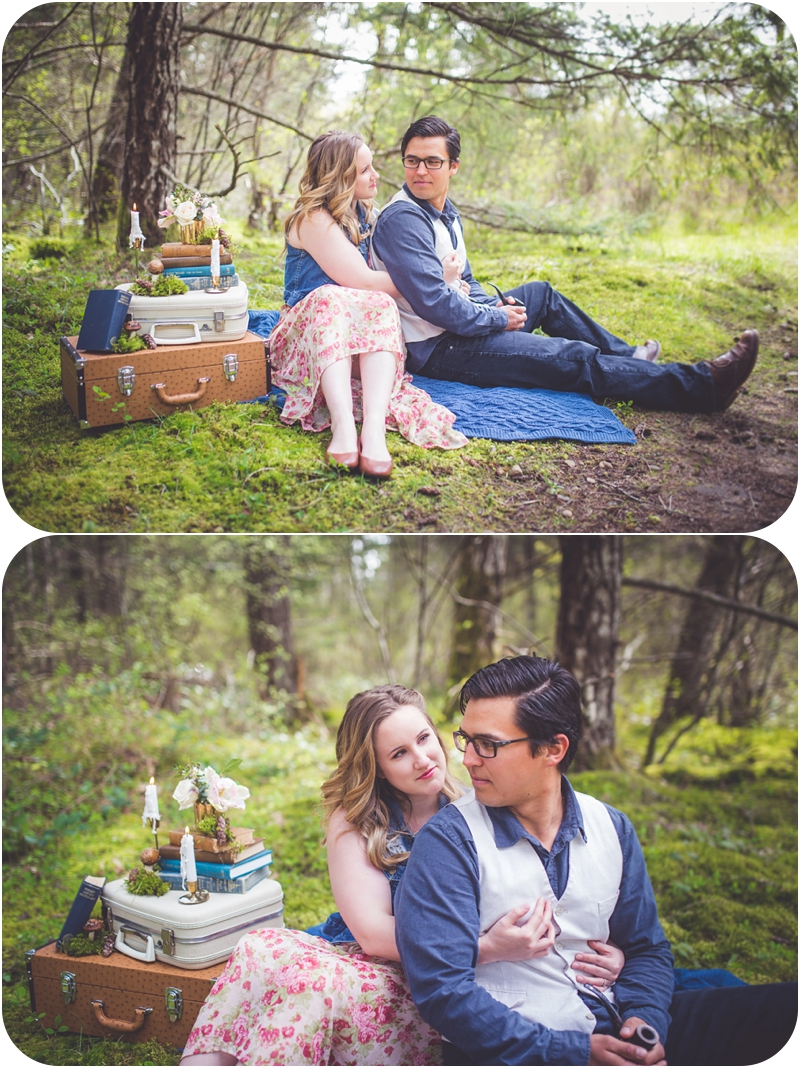 whimsical forest engagement session vancouver island BC