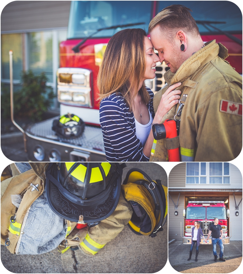 romantic engagement photos at Parksville BC firehall