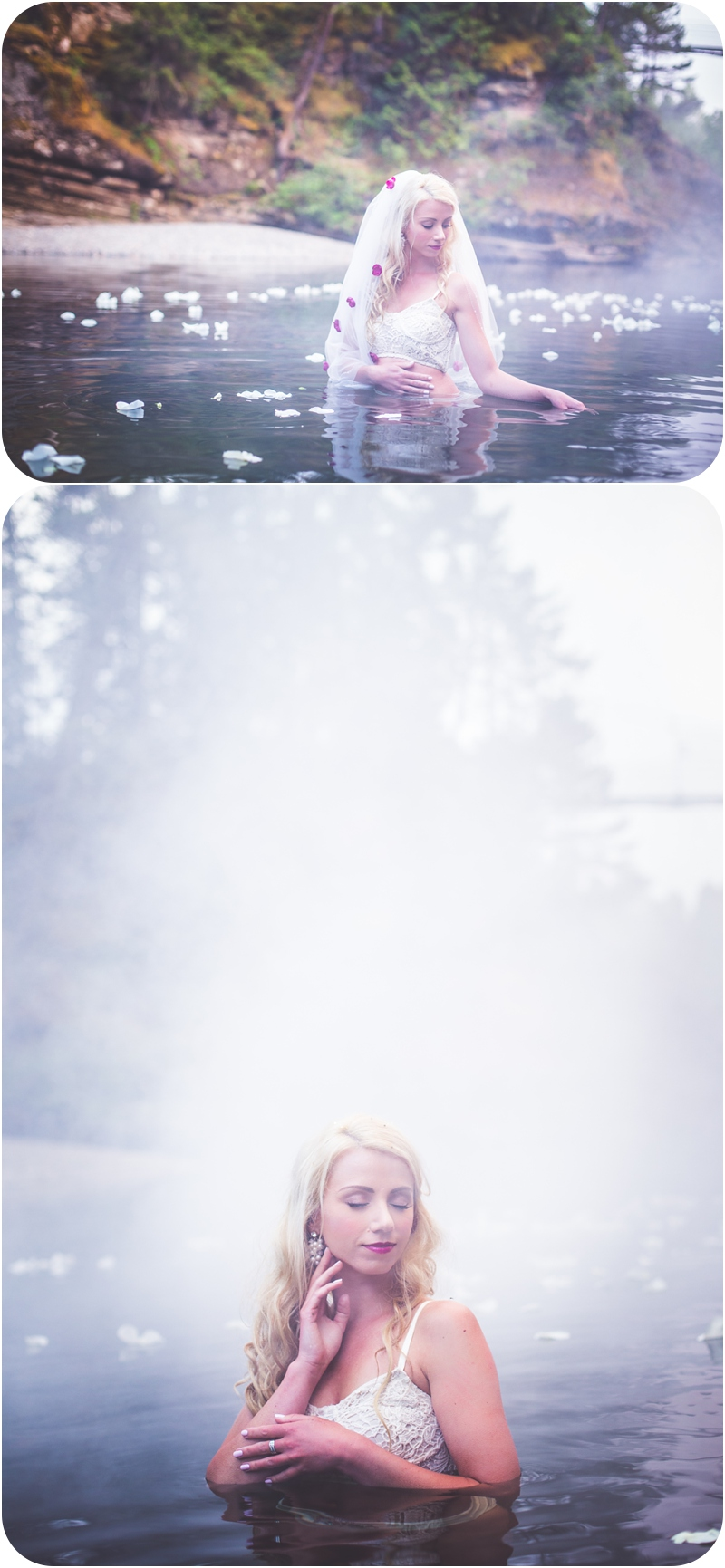 ethereal bridal session photos in Englishman River on Vancouver Island