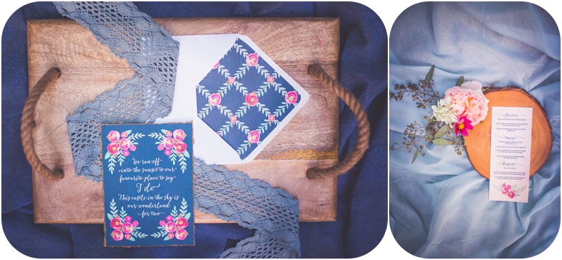 navy blue and floral tuktu paper co wedding stationary