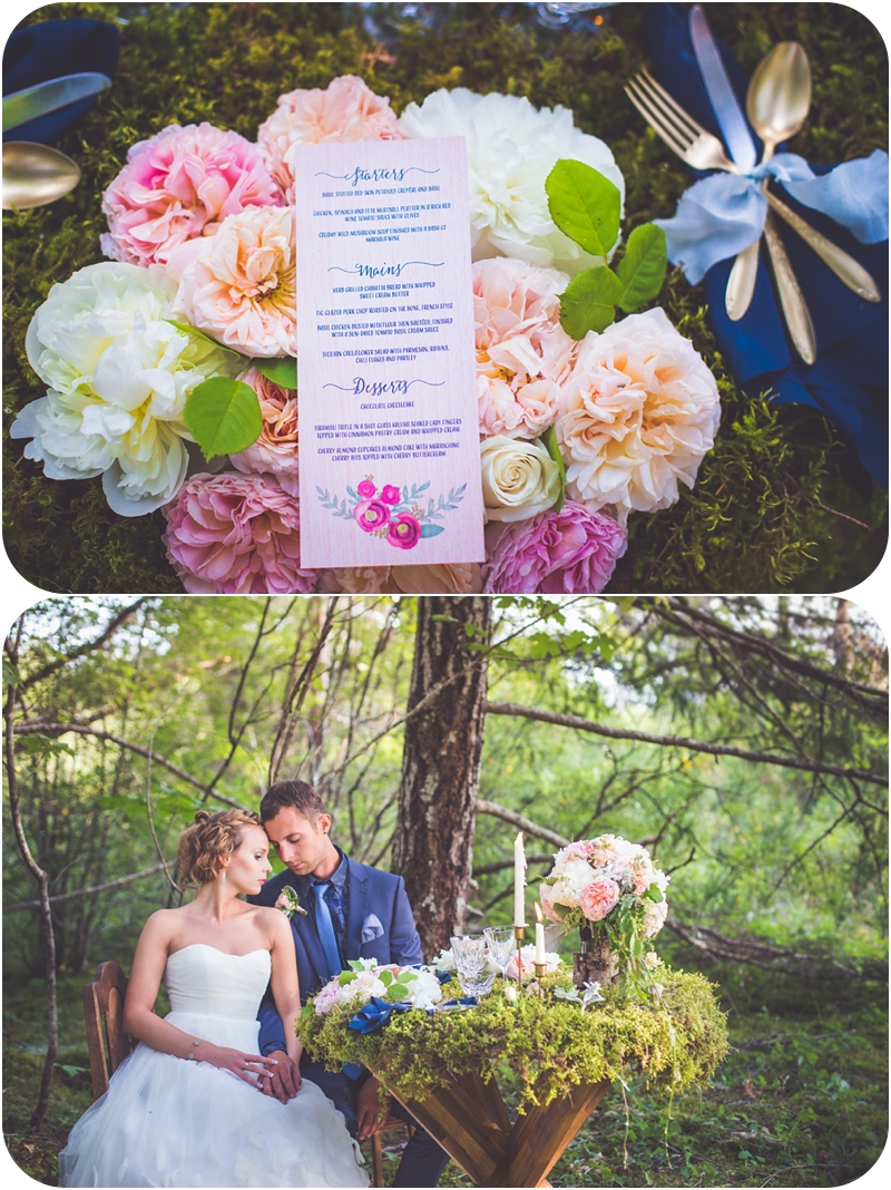 floral charger plates on moss covered table set for couple after forest elopement