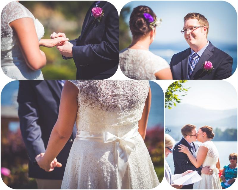 exchange of rings during beachside b&b wedding ladysmith bc