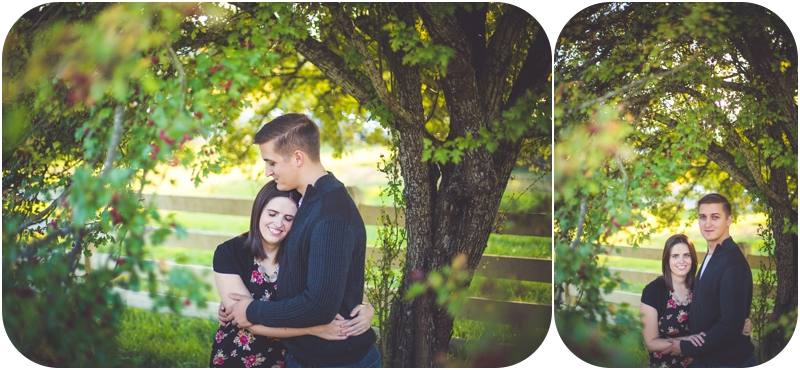 couple hugging during autumn engagement session