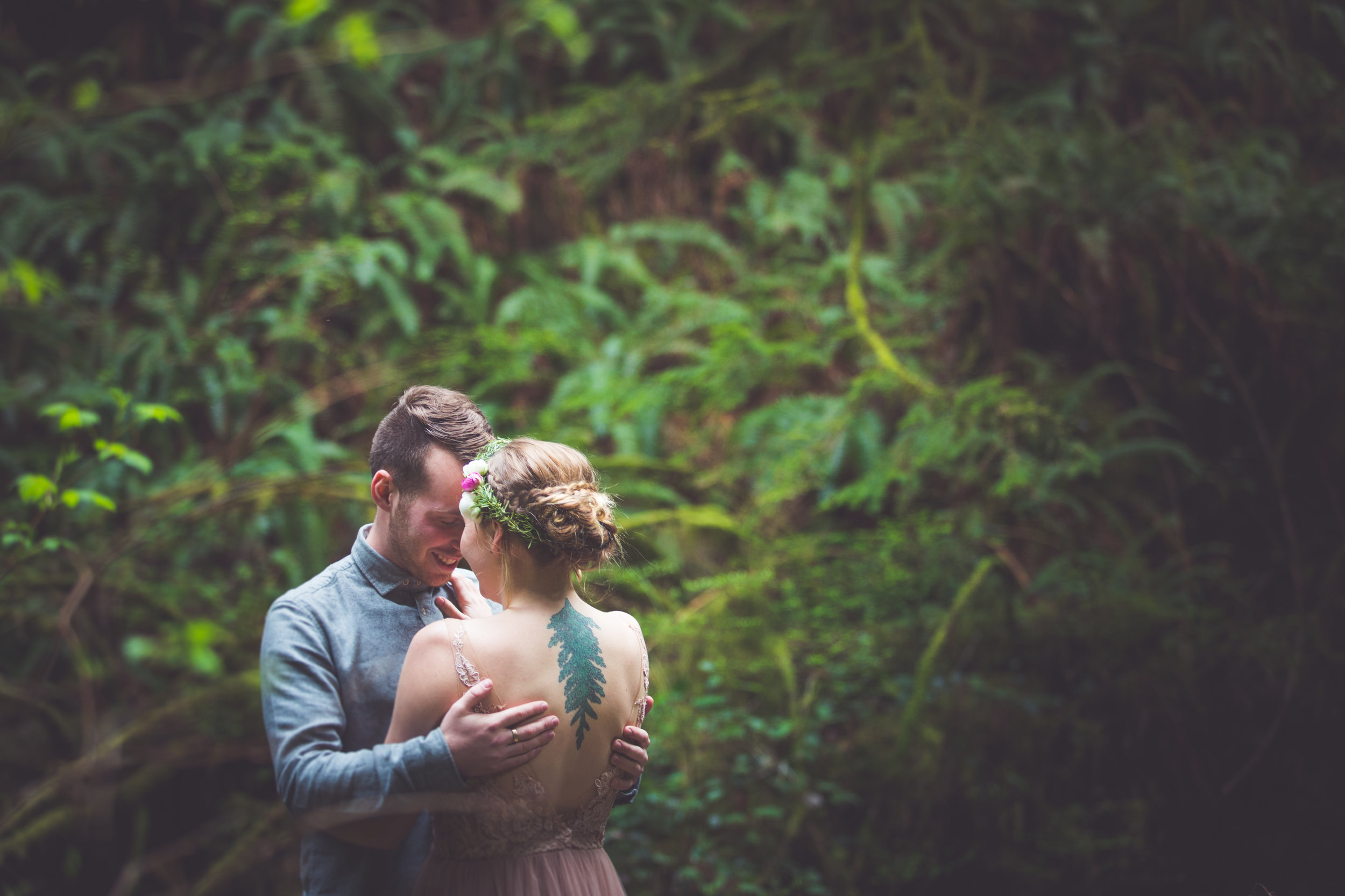 romantic couples portraits for forest wedding vancouver island