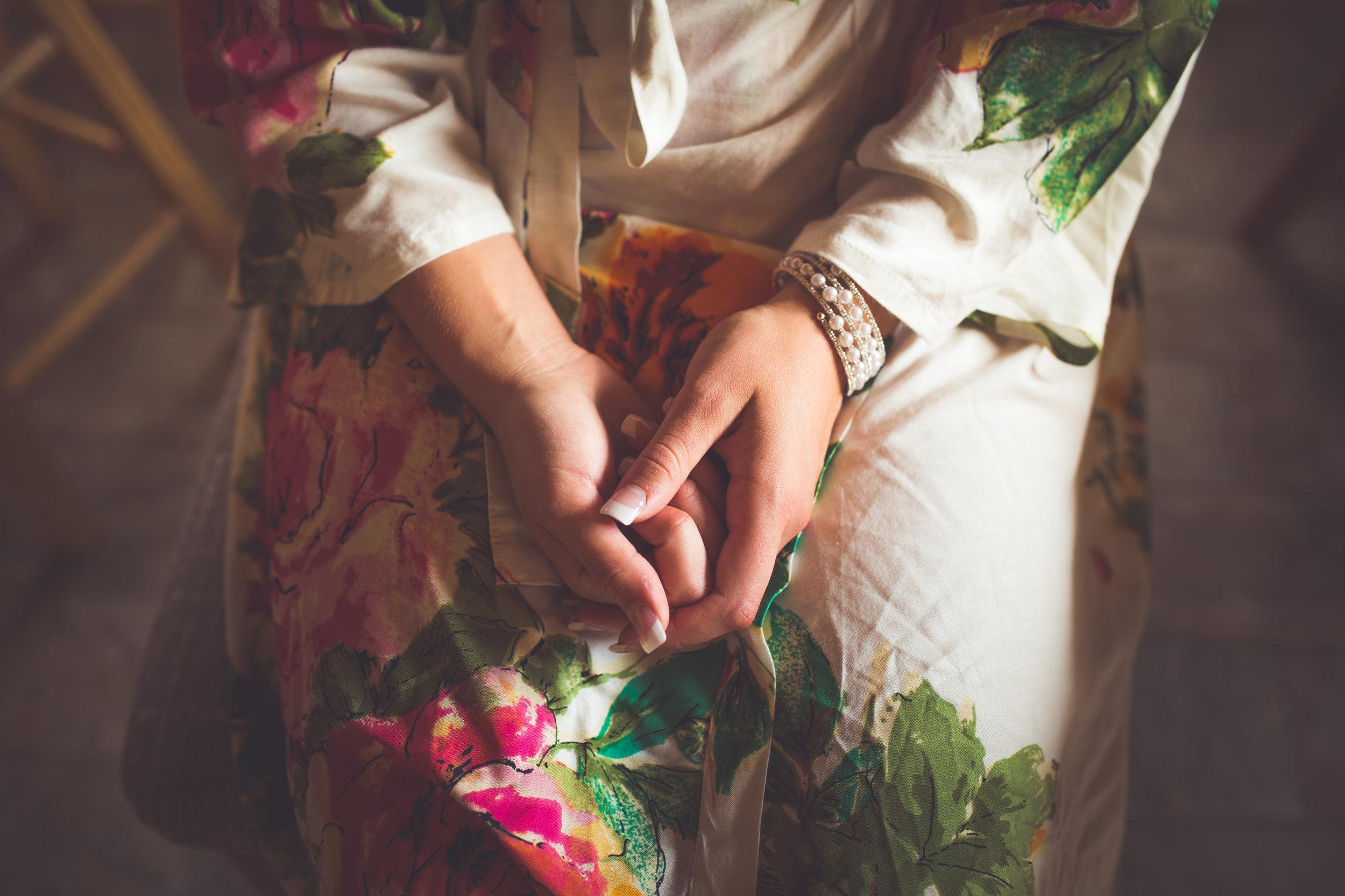 anxious bride getting ready for mount washington mountain wedding