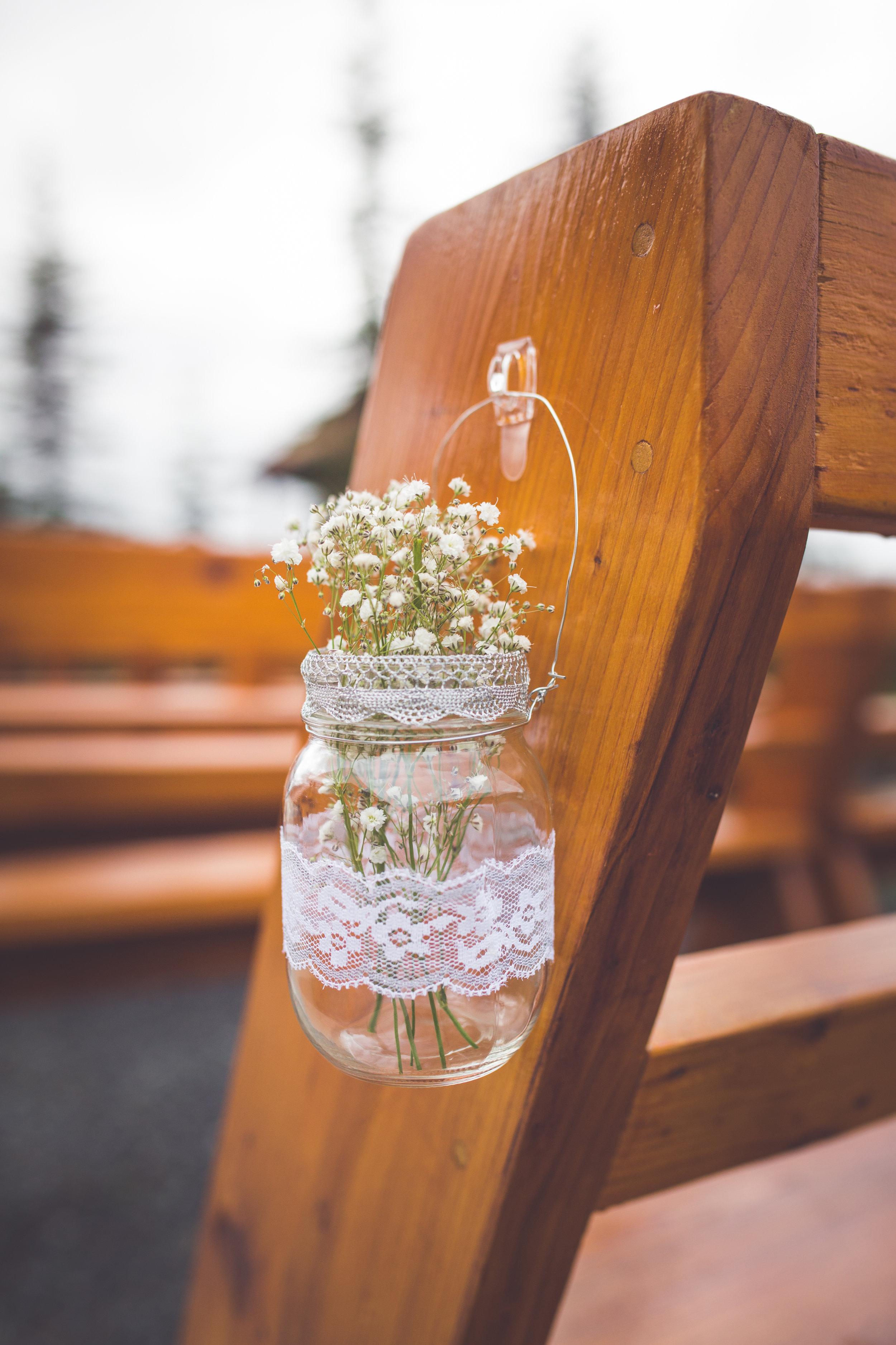 baby breath in mason jar for wedding ceremony