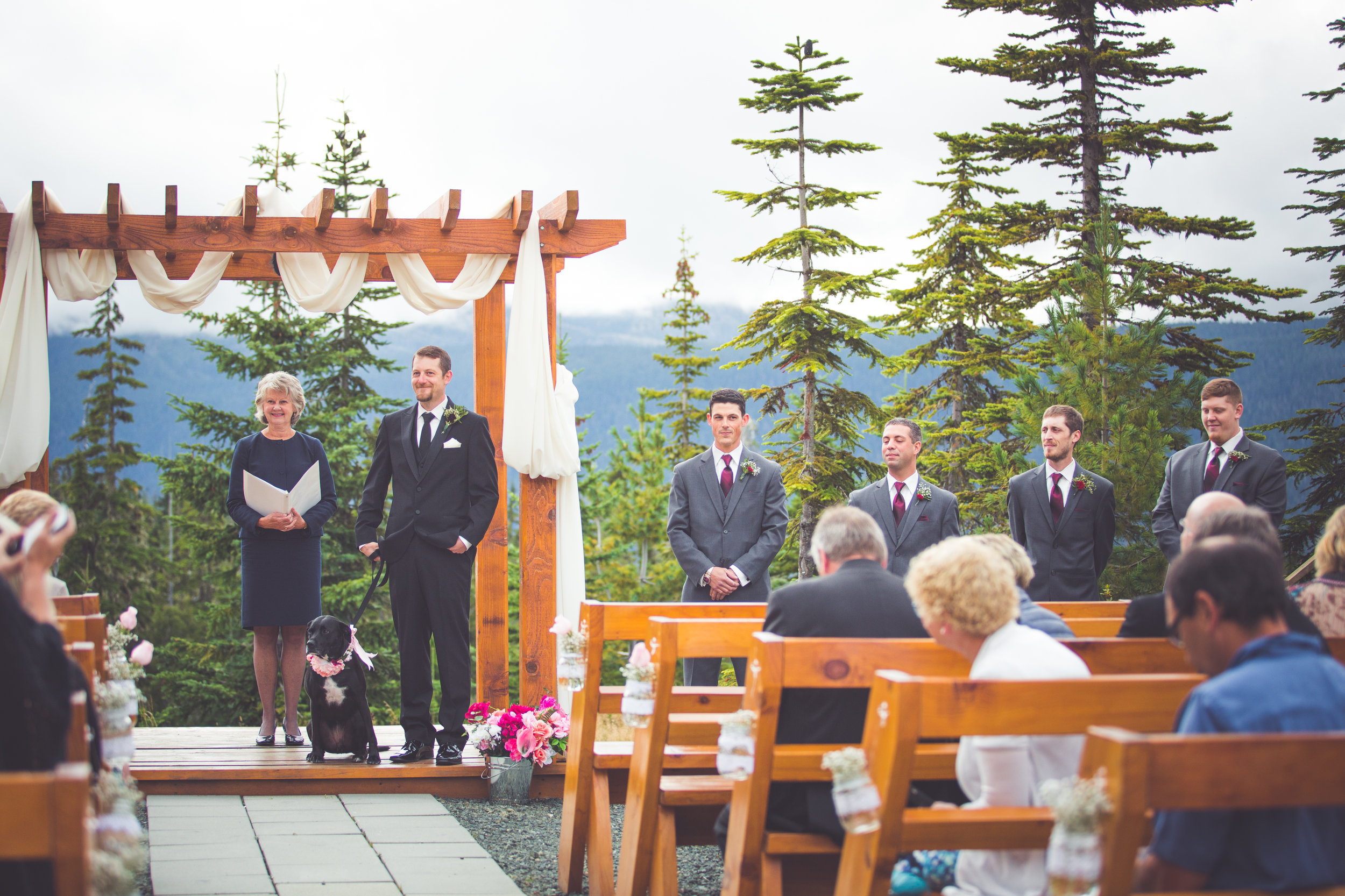 groom awaits bride at mount washington resort wedding