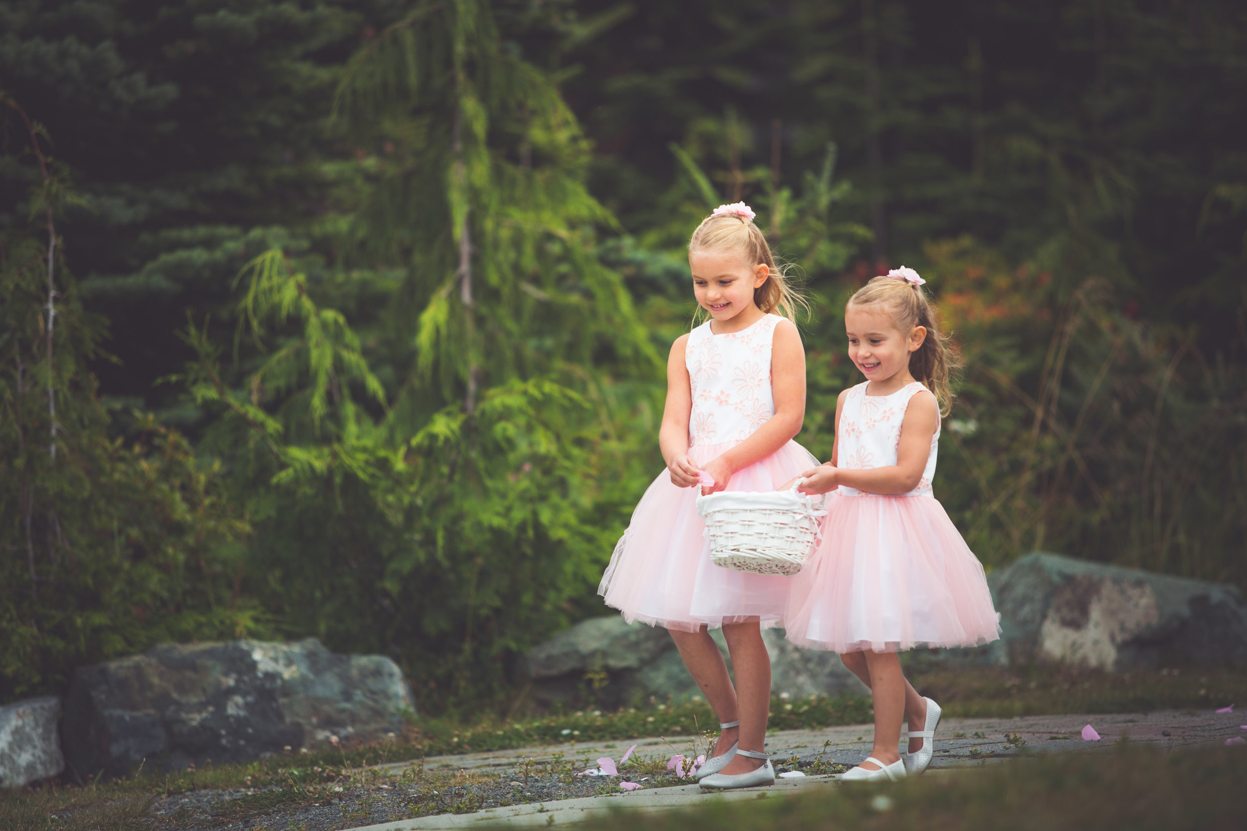 flower girls in pink tutus for vancouver island mountain wedding
