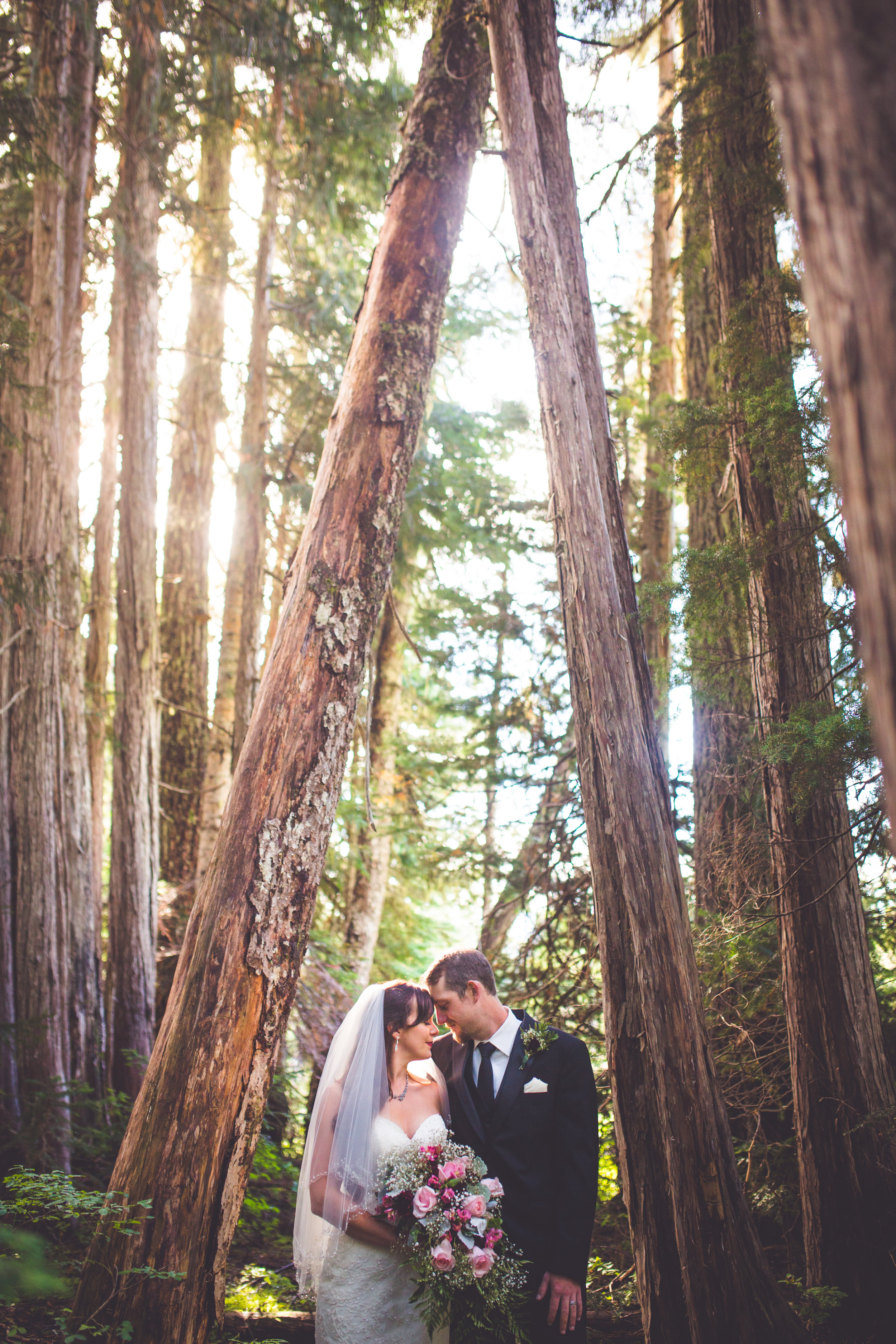 romantic portrait of bride and groom in forest at mount washington