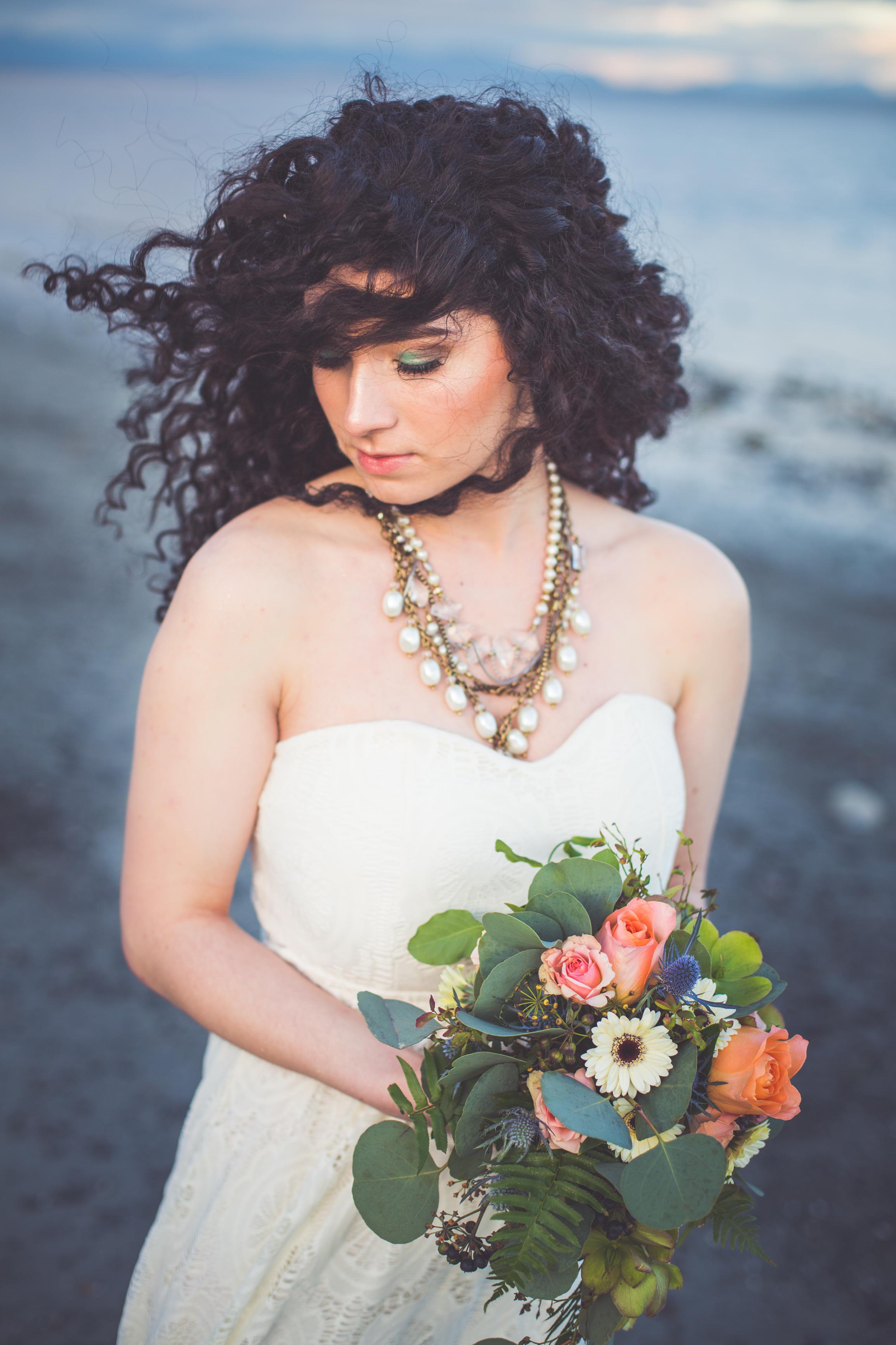 windblown hair on bride
