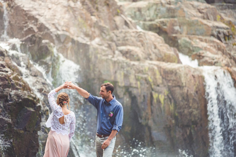 dancing at myra falls in strathcona park on wedding