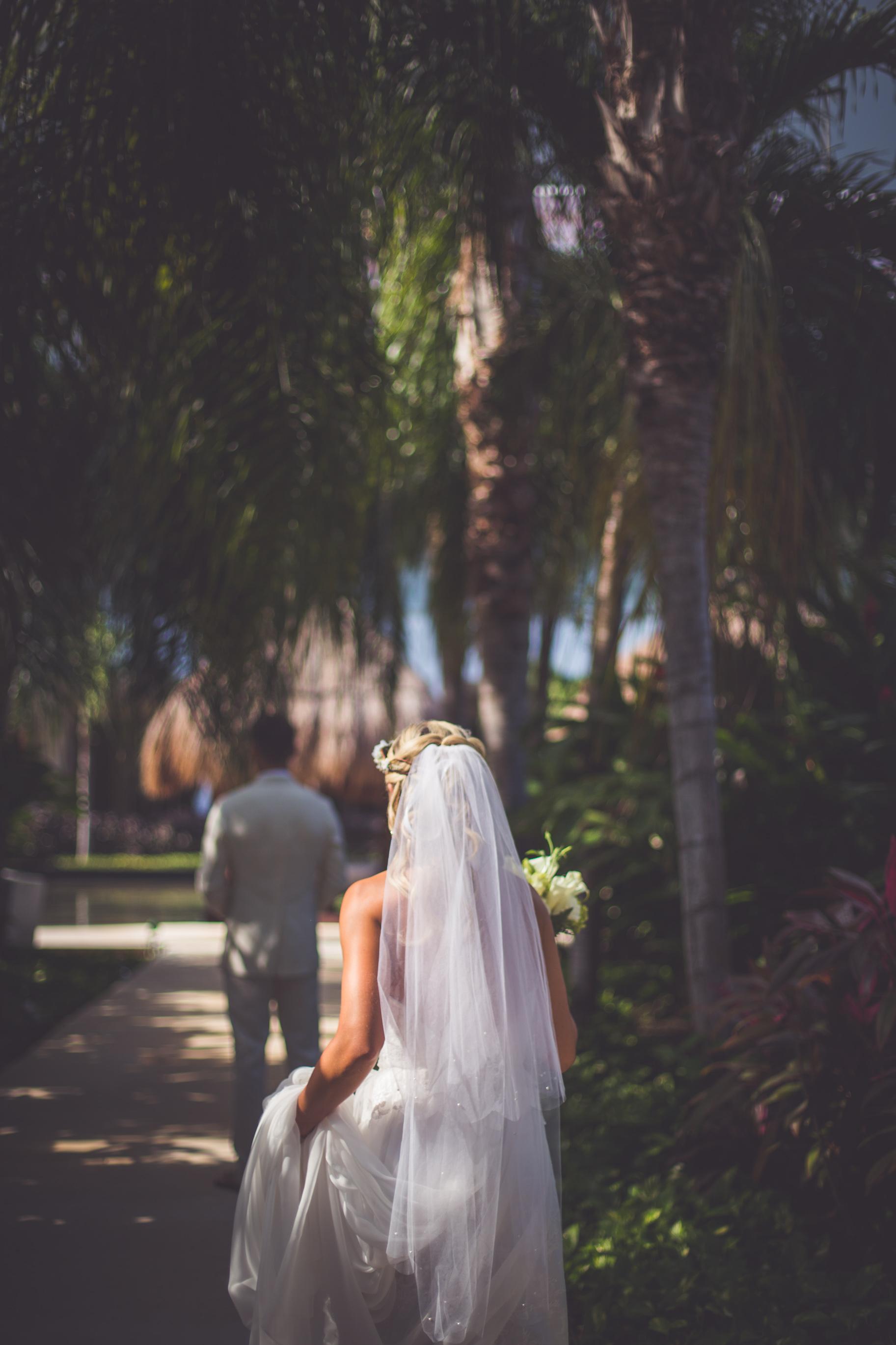 first look at sunset princess resort wedding