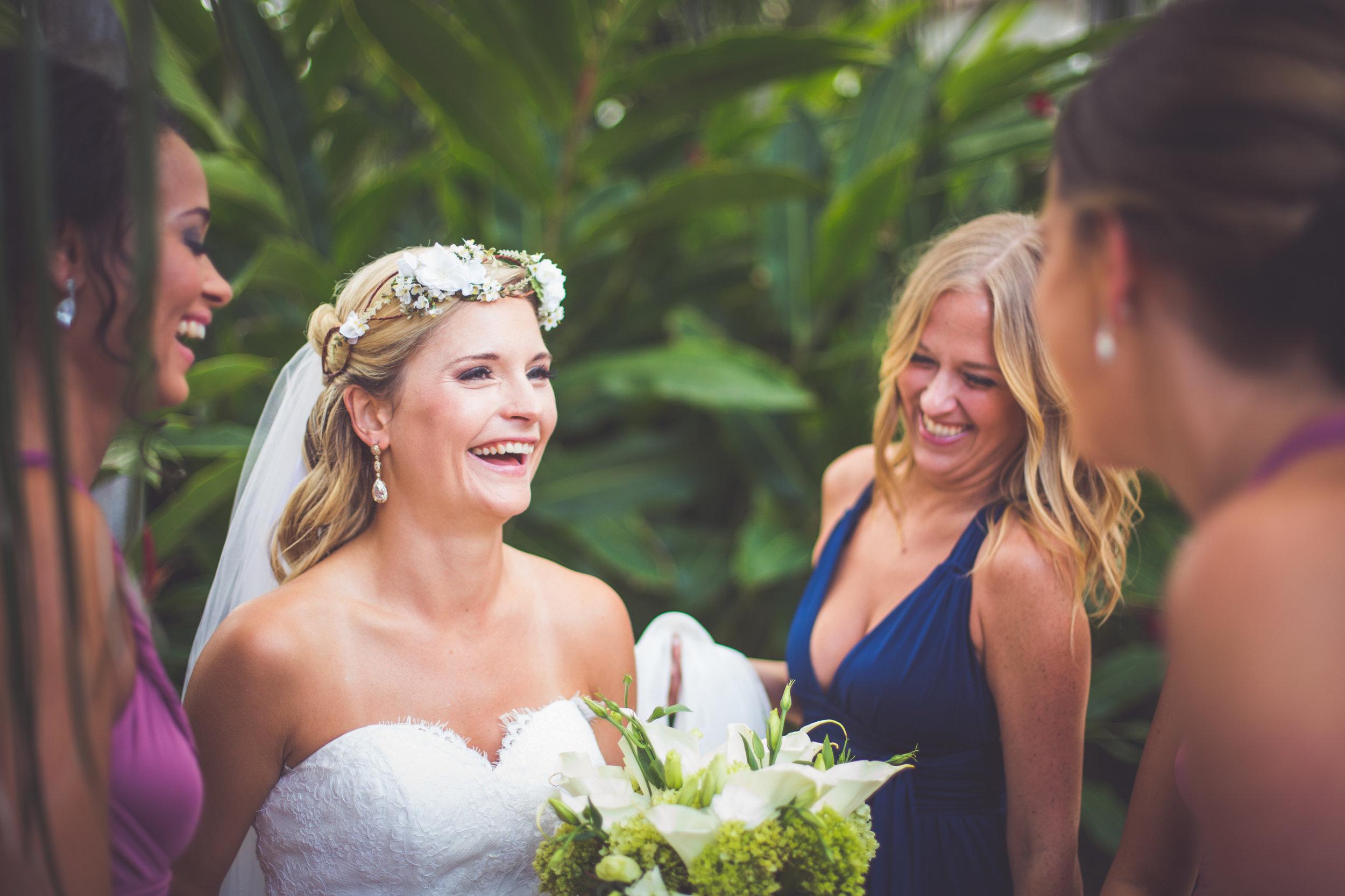 happy bride at playa del carmen resort wedding
