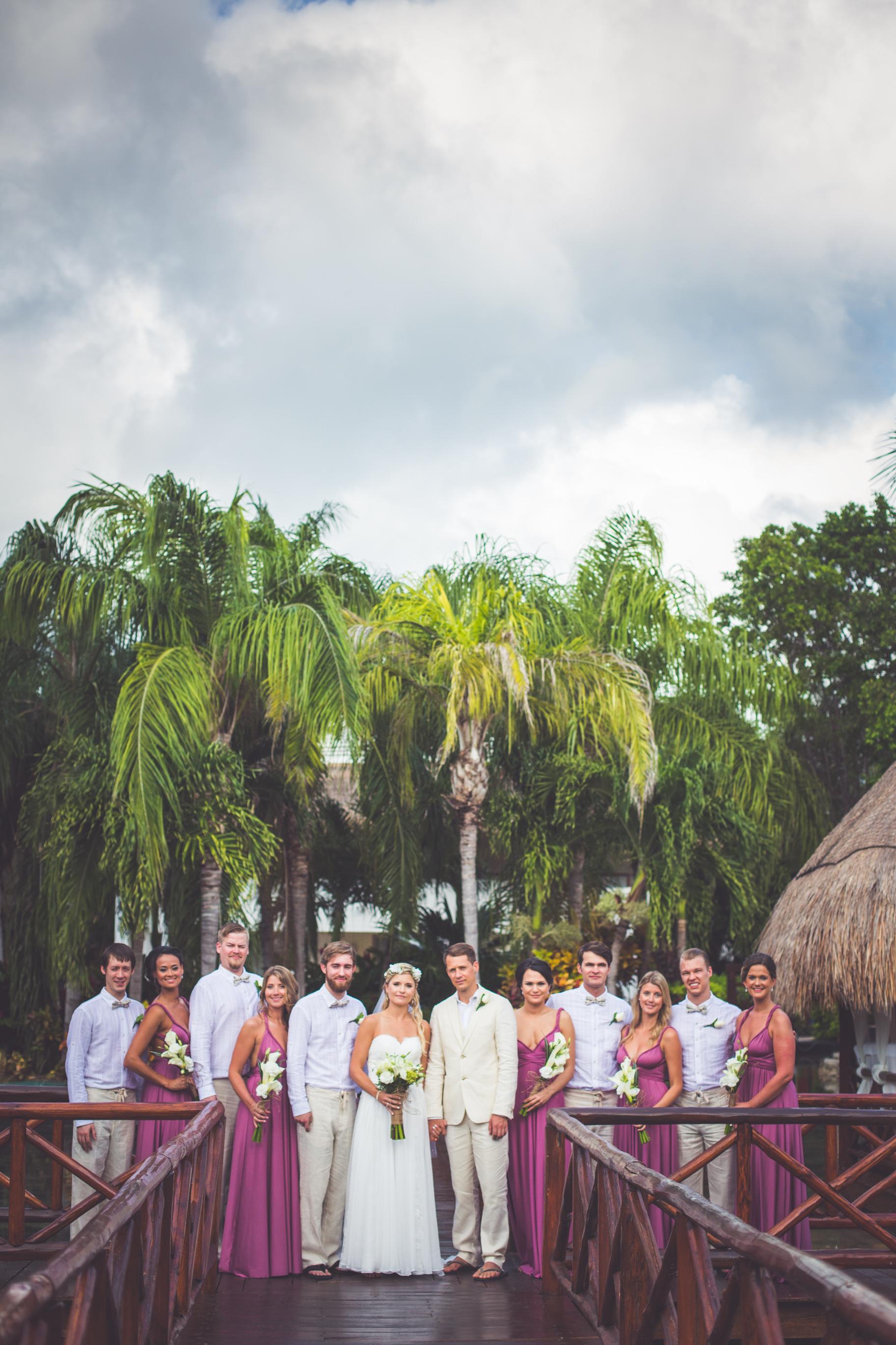 bridal party portraits at sunset princess resort playa del carmen mexico