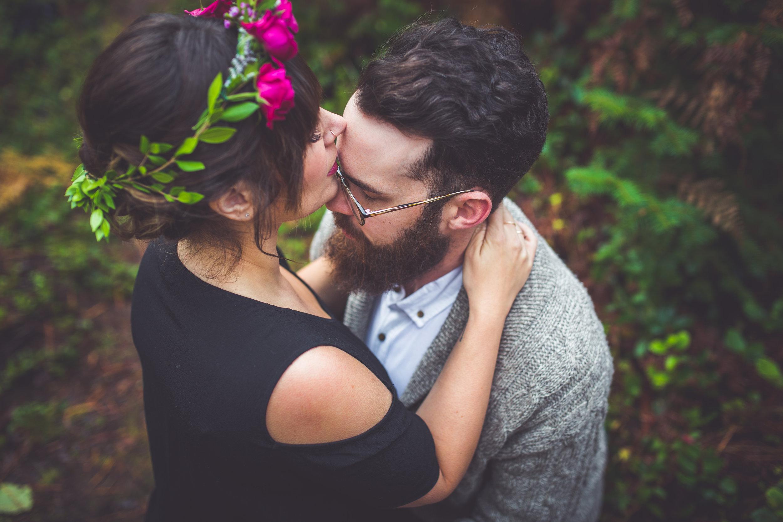 bride kisses groom vancouver island