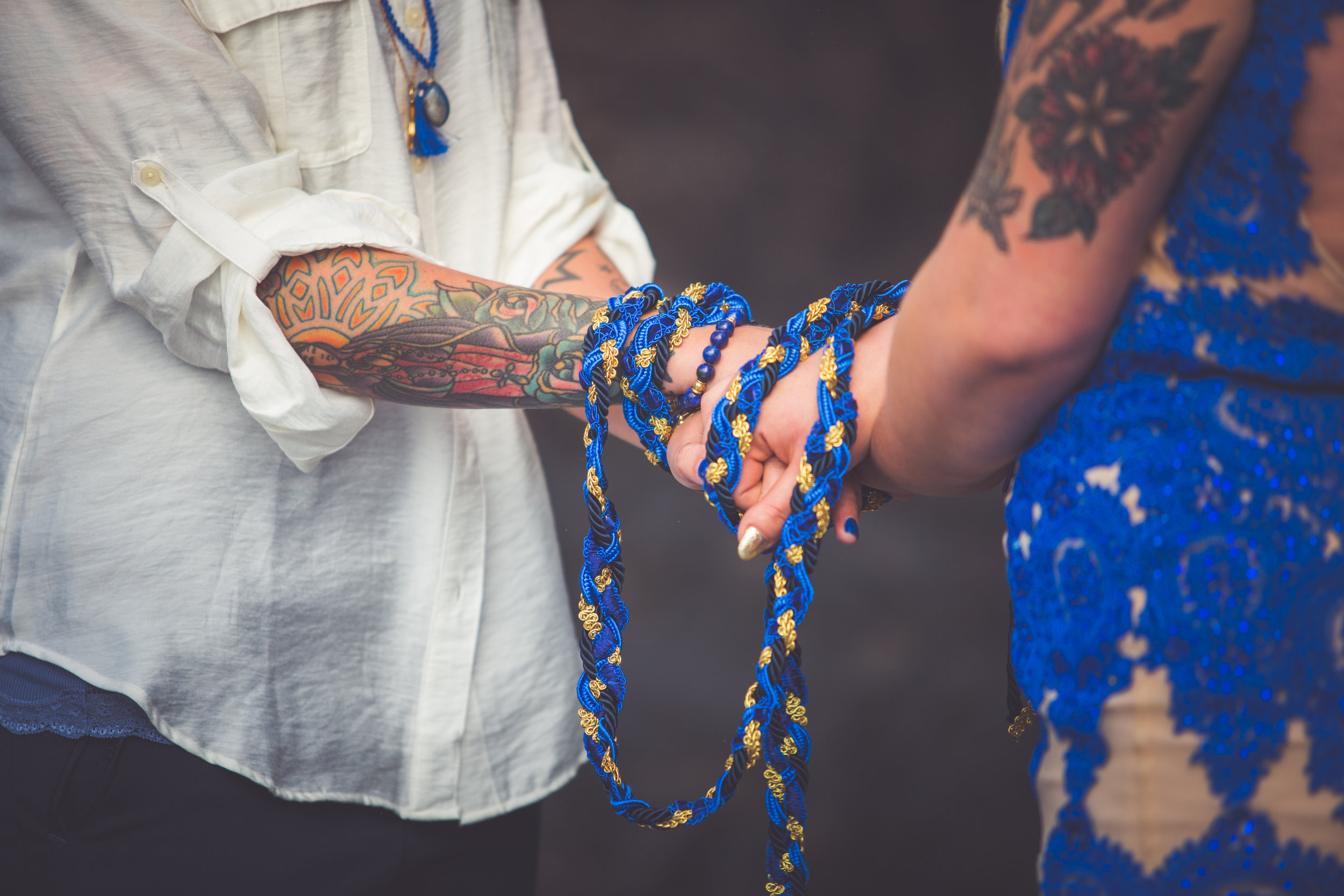 Traditional Handfasting at Wiccan Wedding in Tofino BC