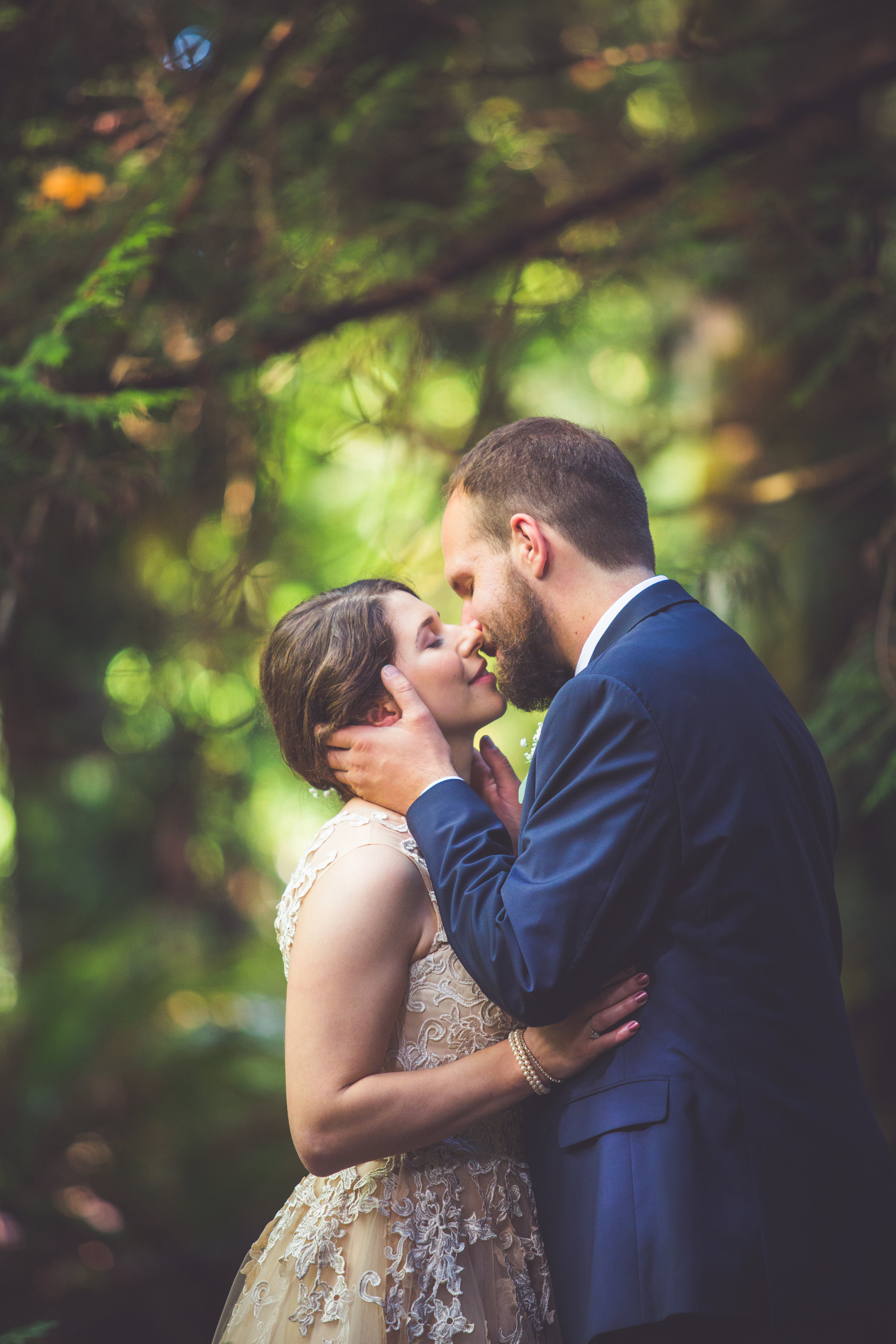 Parksville bc first look in forest wedding images