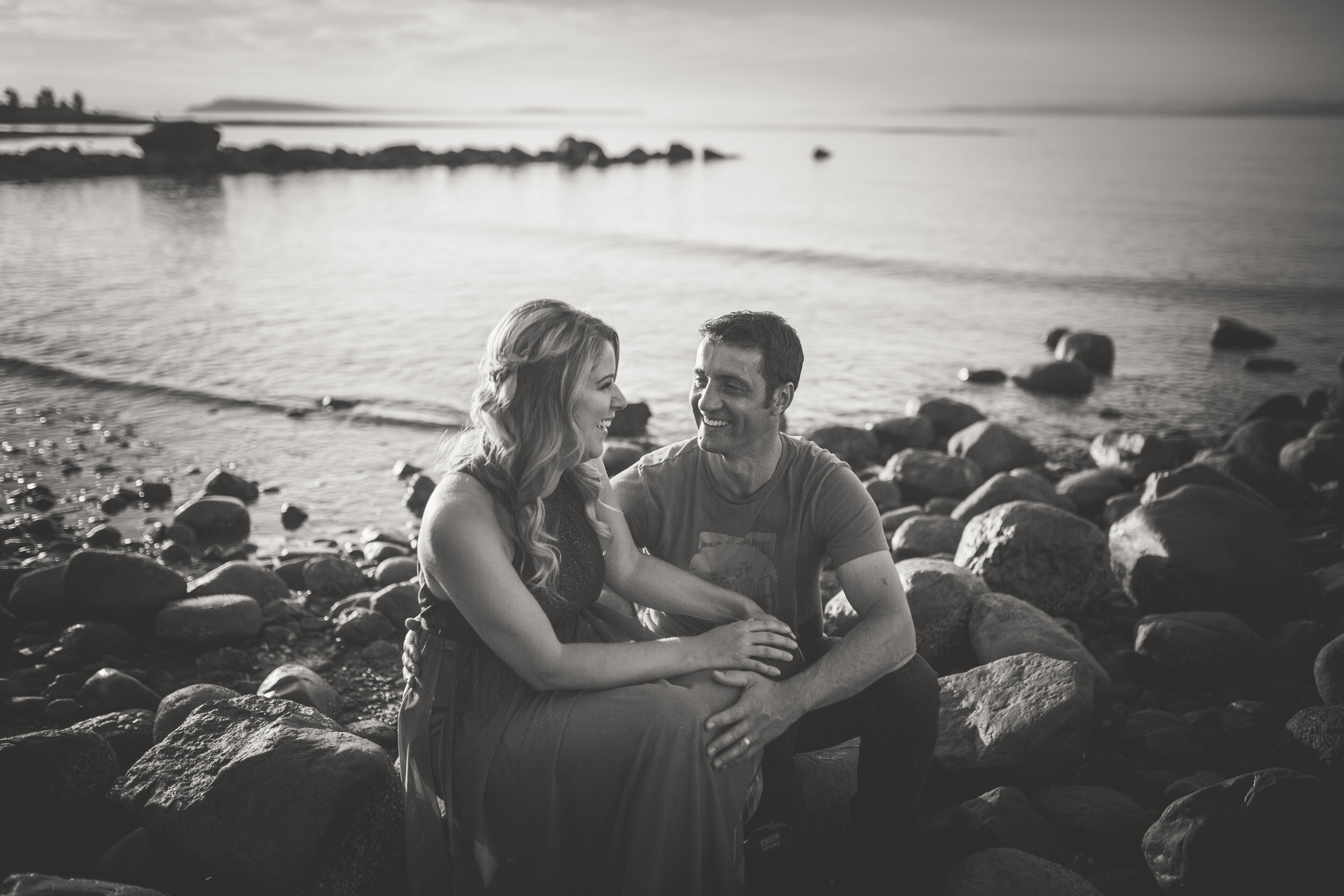 black and white ocean engagement photos