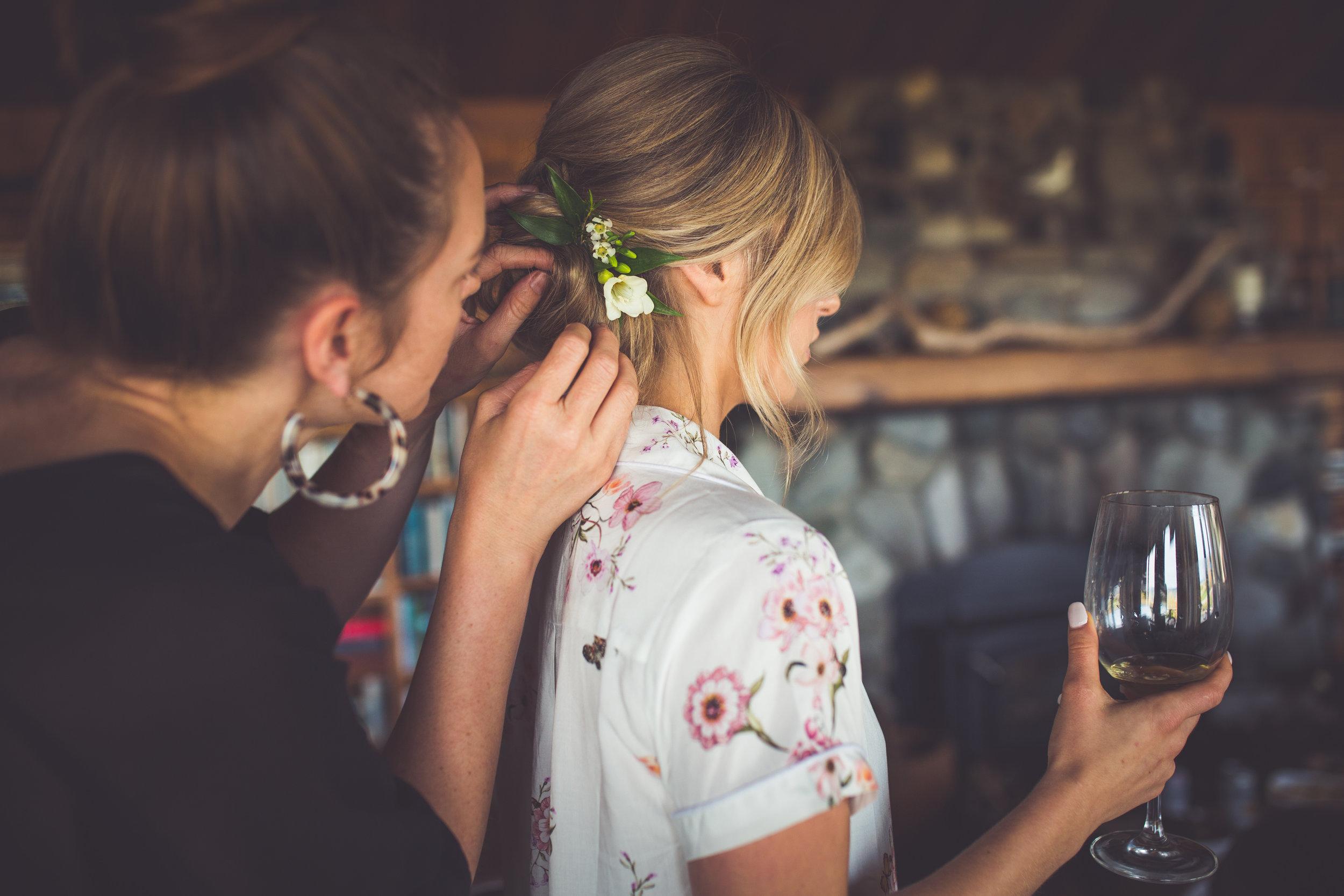 Hairpins salon at Qualicum Beach wedding