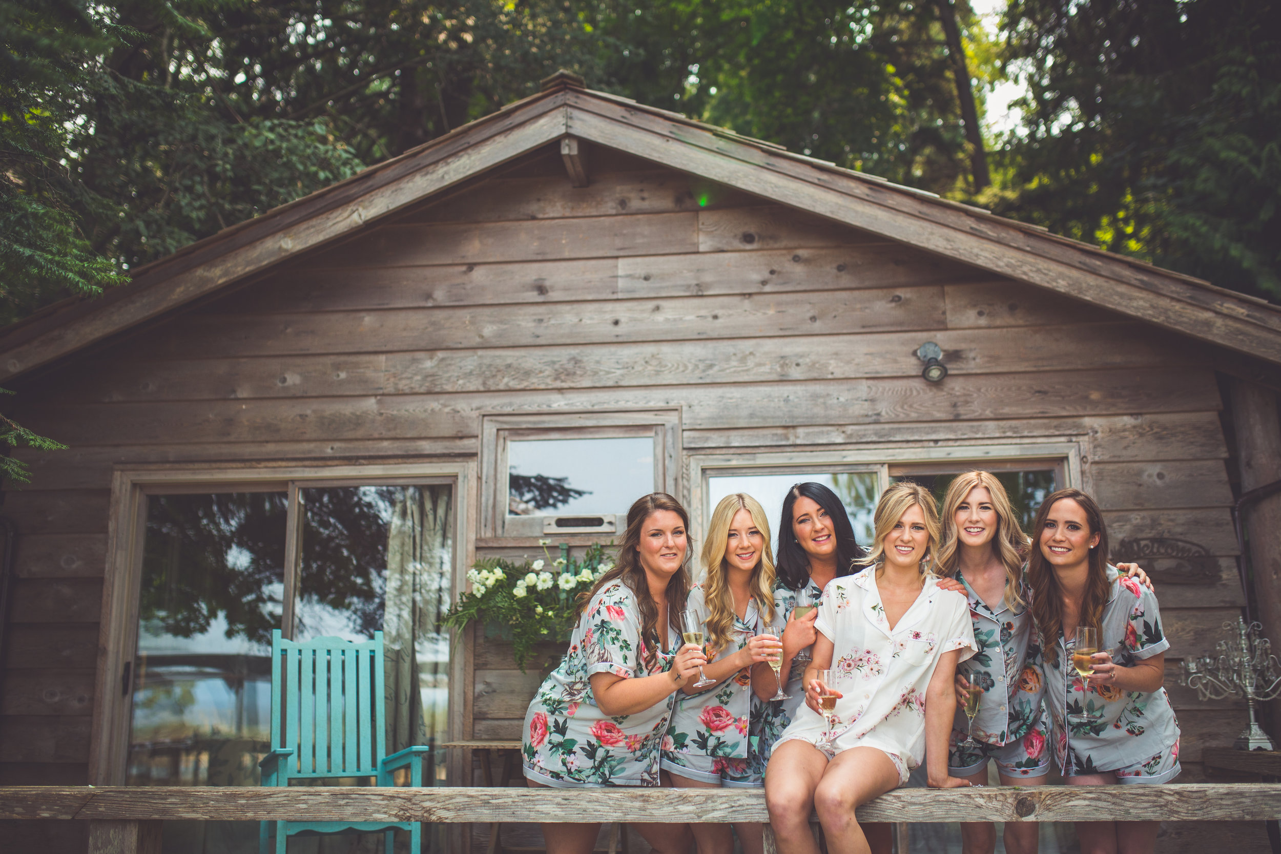 bridesmaids in silk floral robes
