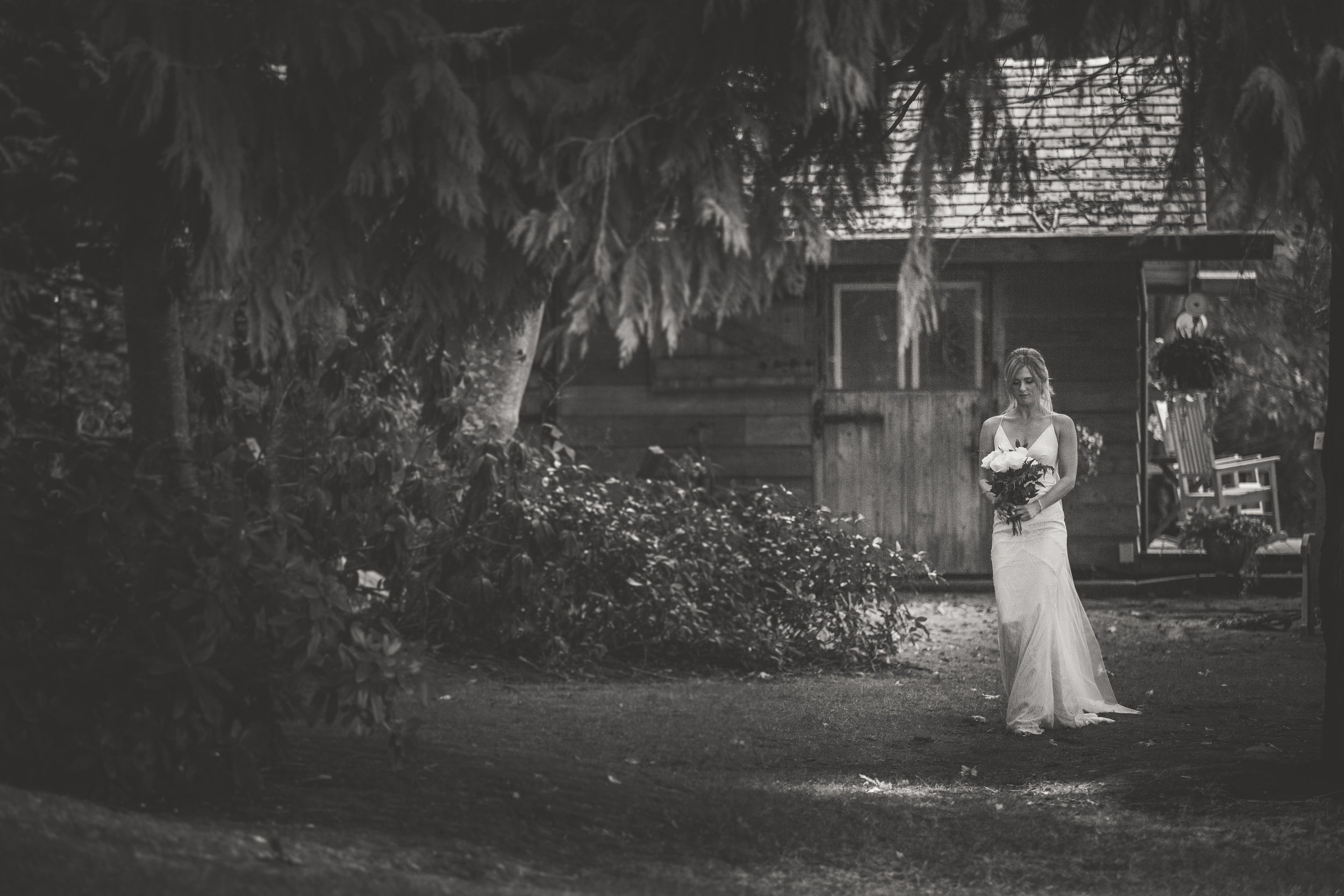 bride walking down the isle in Qualicum Beach backyard