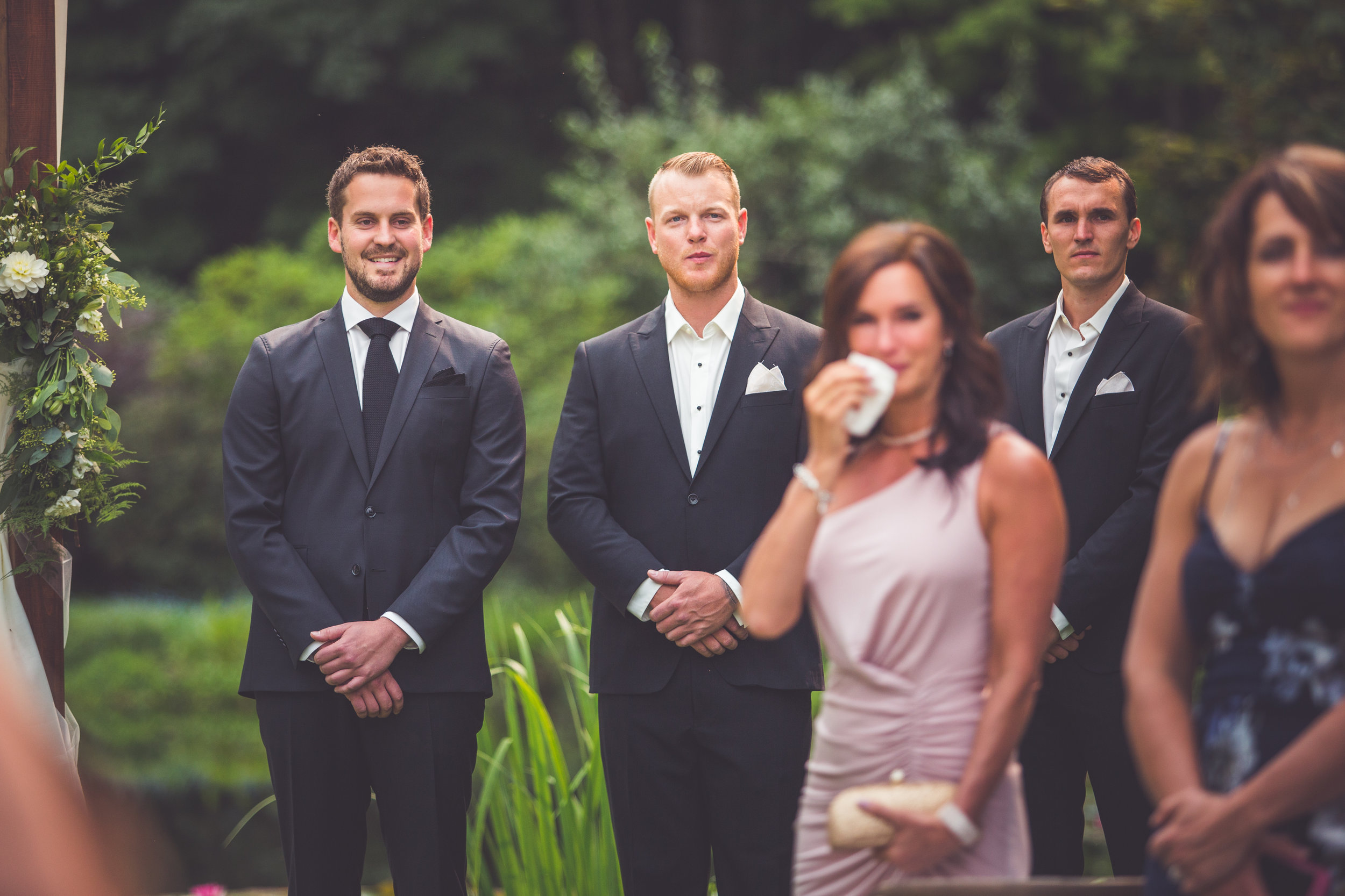 groom sees bride for first time at Qualicum Beach wedding