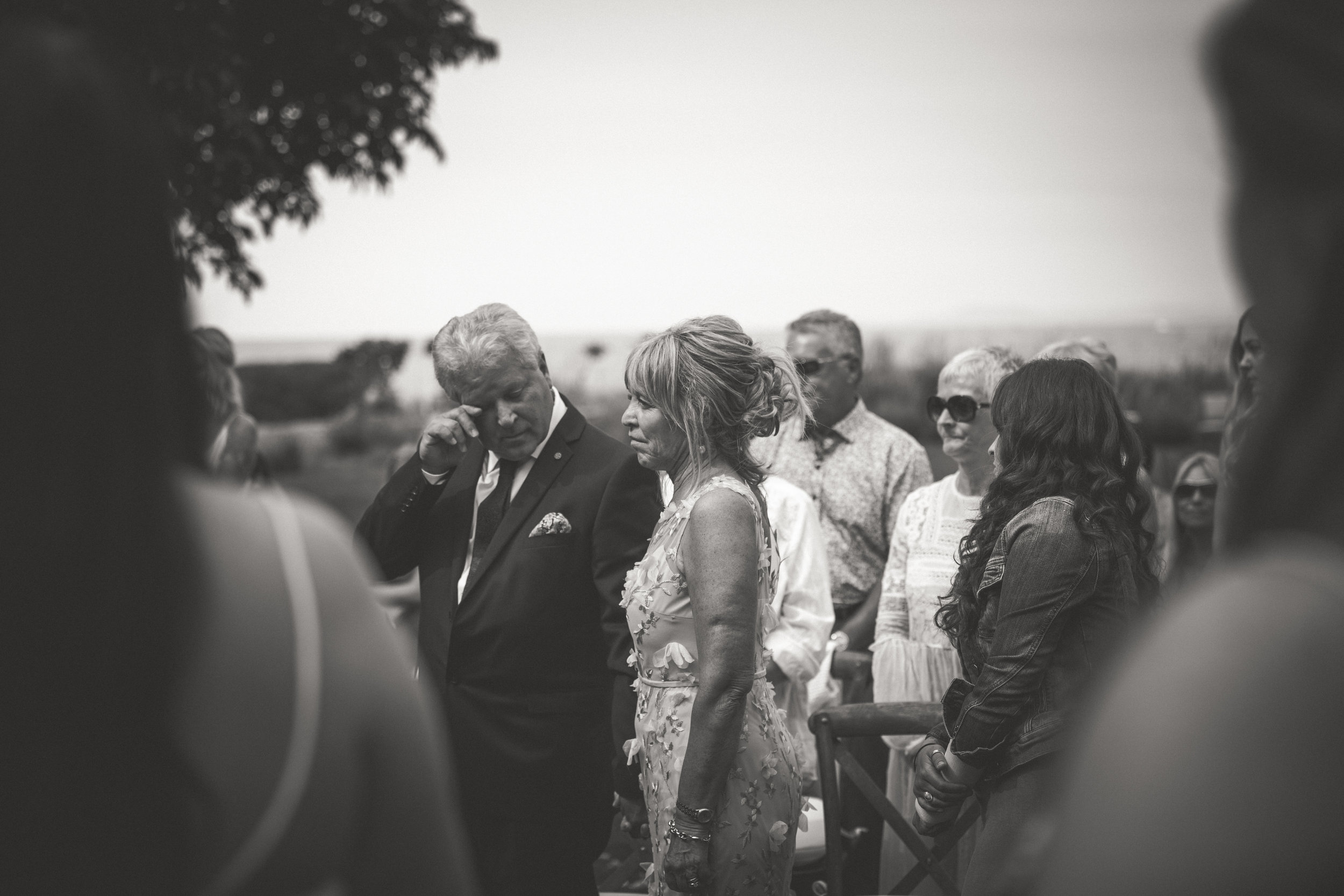 crying parents of the groom on Vancouver Island
