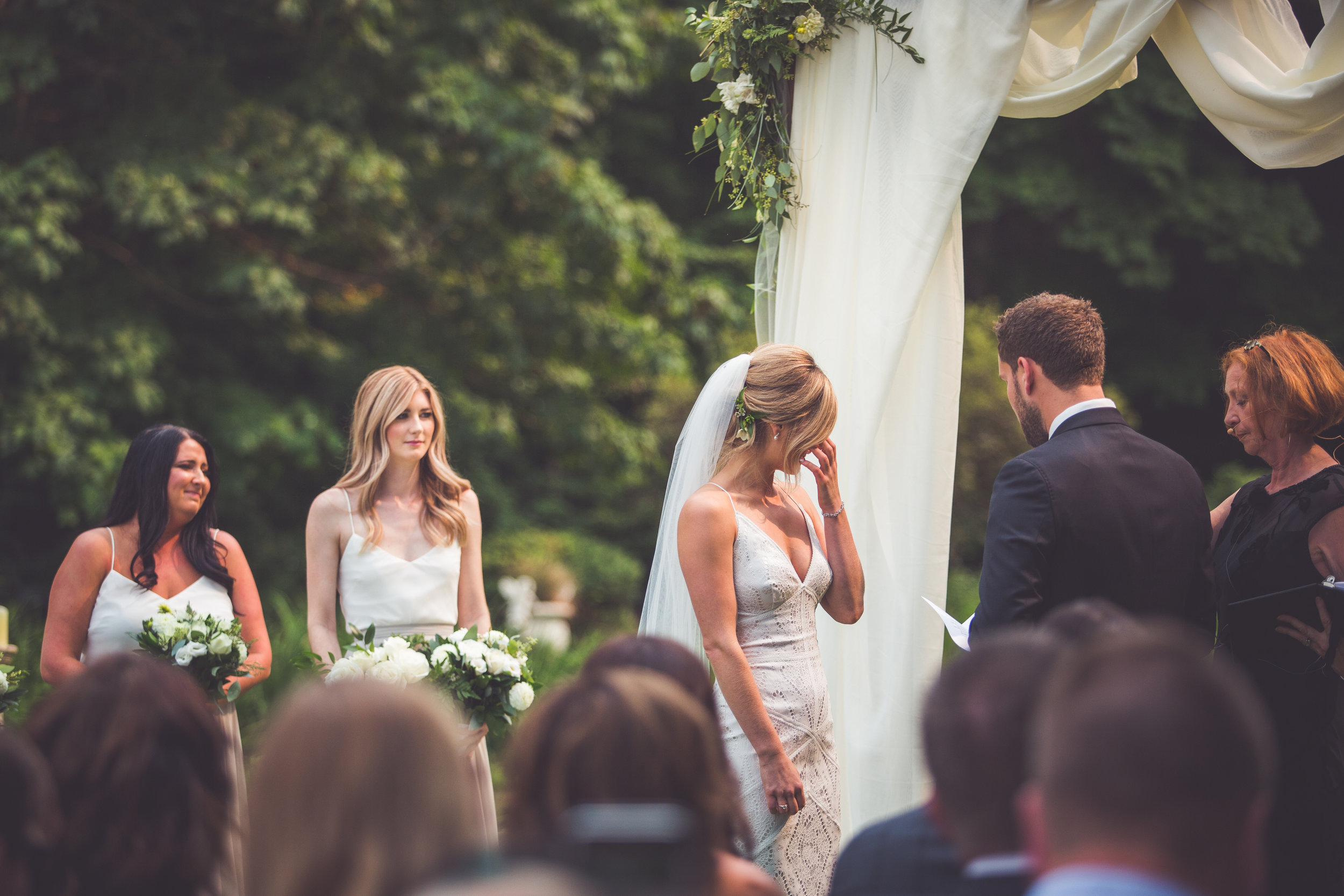emotional Vancouver Island bride during vows