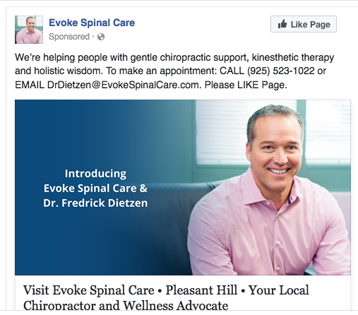 Evoke does healing work. Good work. But, not enough people know about them in Pleasant Hill. Therefore, our strategy needed a wide net: Facebook advertising, boosts, posts and likes, direct mail, local events, meet 'n greets, peer to peer relationship building, offer testing, repositioning, fresh messaging, and reconfigured offerings.