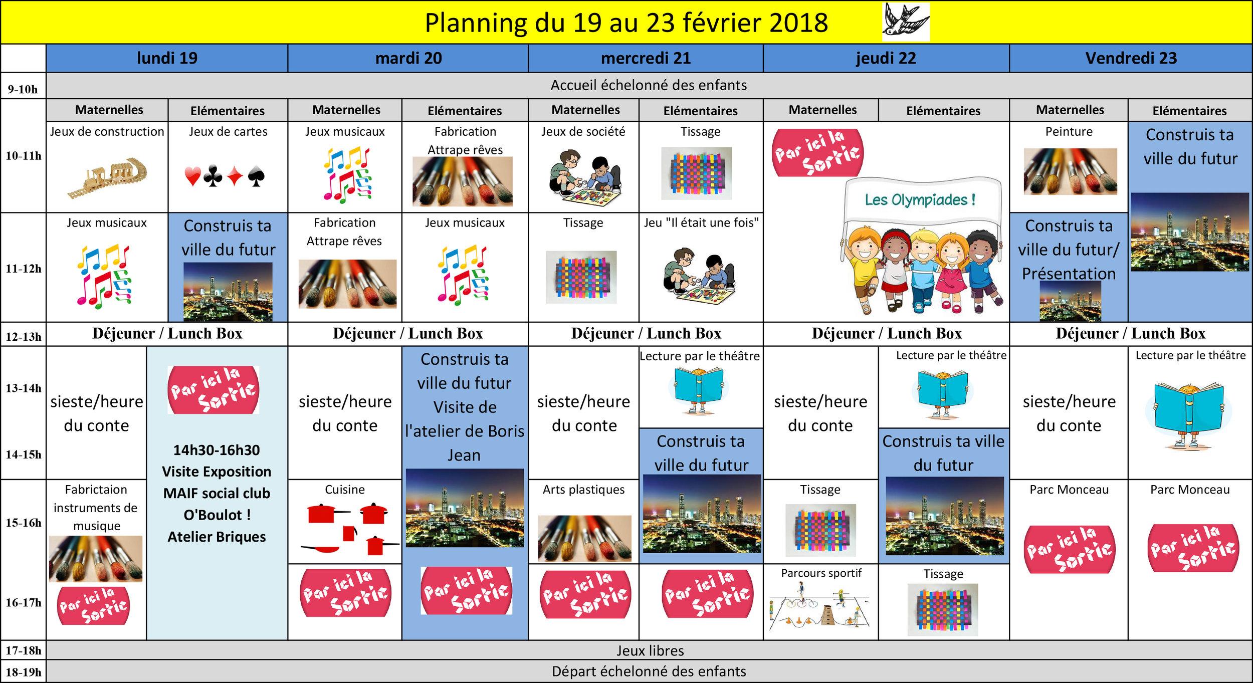 planning fev 18