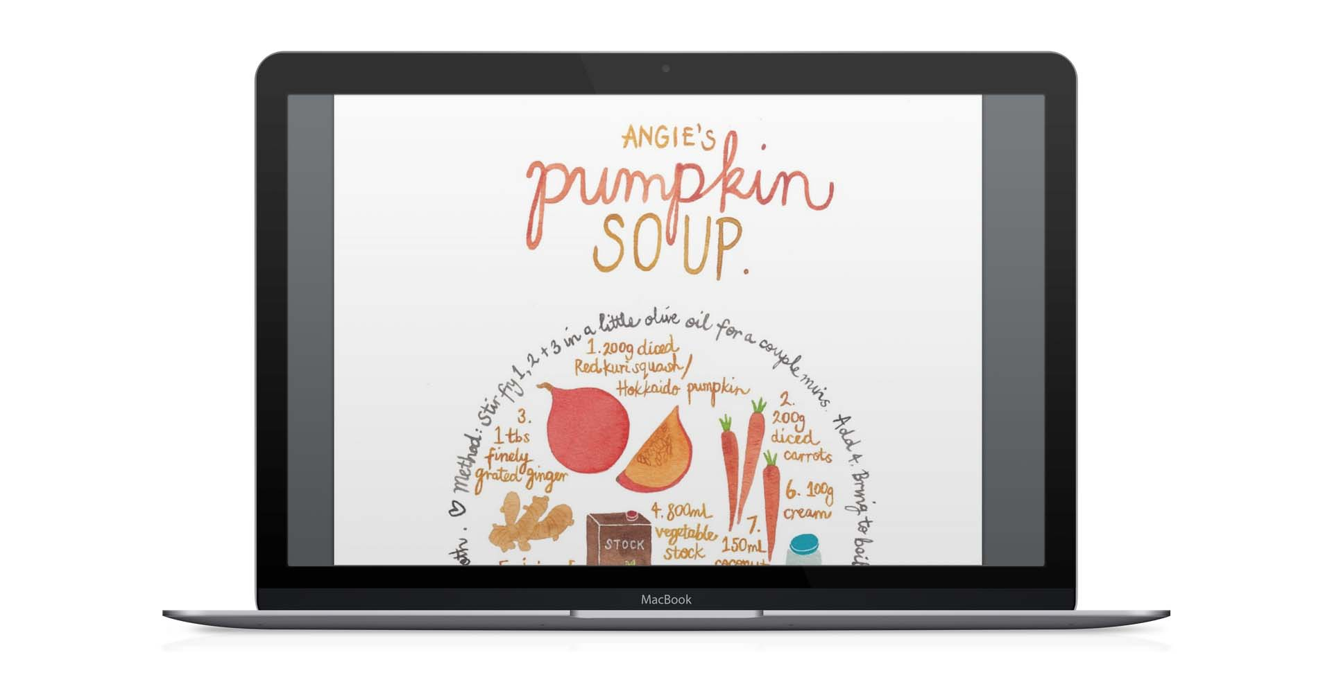 computer with miss yasemin painting of pumpkin soup recipe