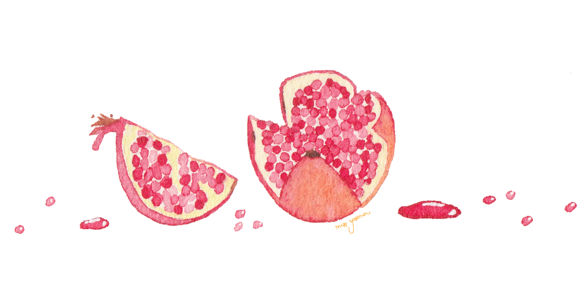 miss yasemin watercolour painting of pomegranate and pomegranate juice