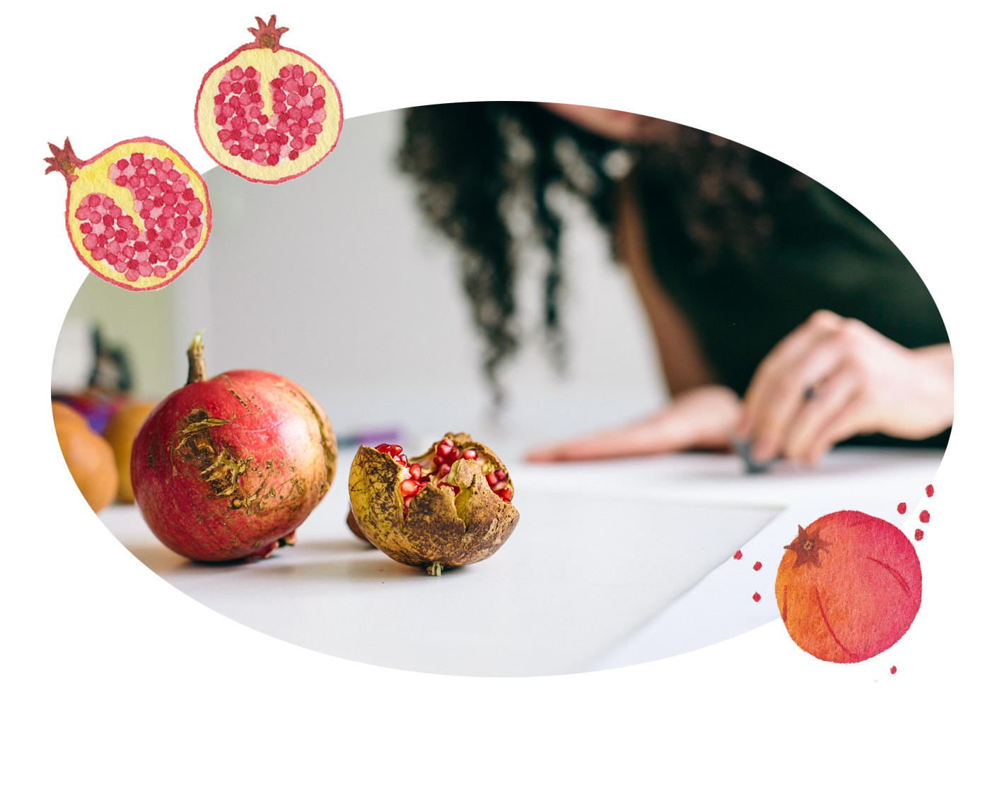 miss yasemin drawing with painted pomegranates on top