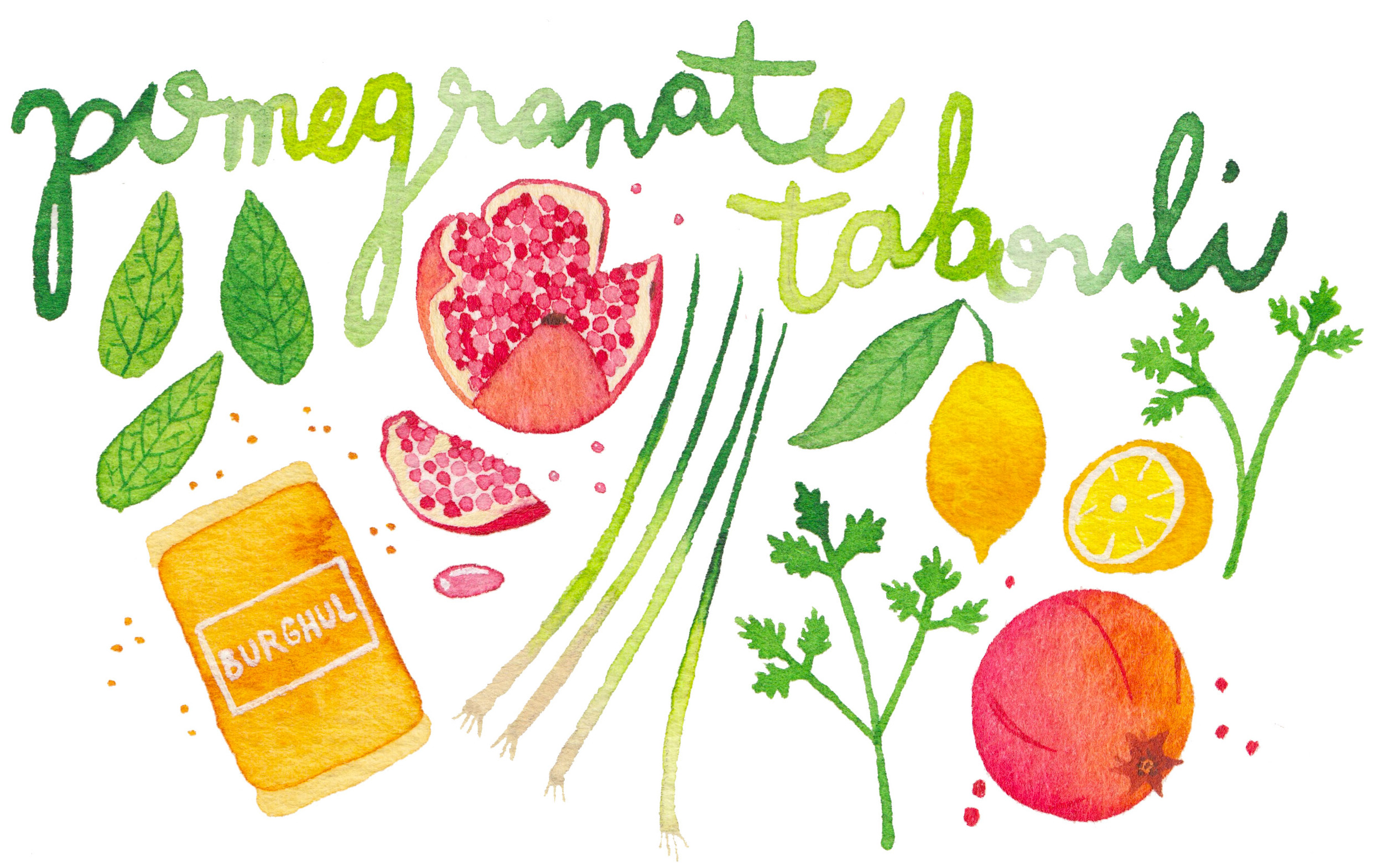 miss yasemin watercolour painting of pomegranate tabouli ingredients