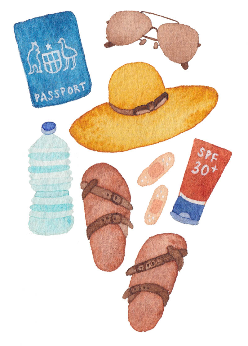 miss yasemin watercolour painting of travel items