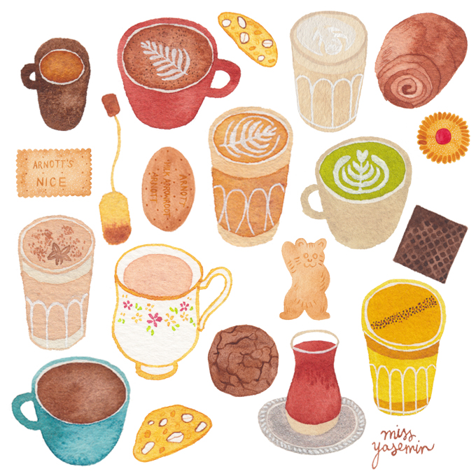 miss yasemin watercolour painting of different beverages and biscuits