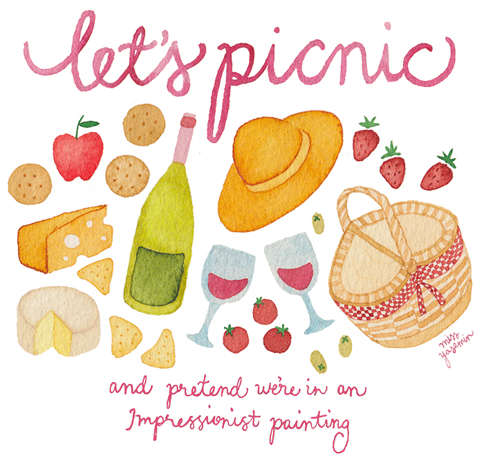 miss yasemin watercolour painting of picnic food and drink
