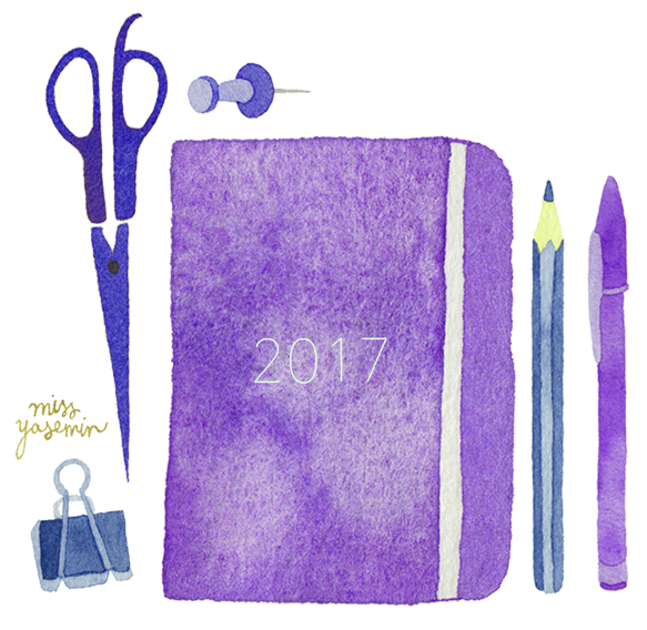 miss yasemin watercolour painting of diary and stationery