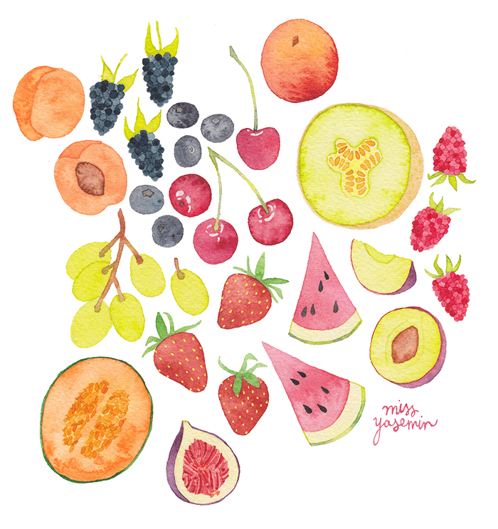 miss yasemin watercolour painting of Melbourne summer fruit