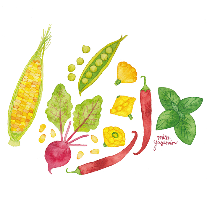 miss yasemin watercolour painting of summer vegetables