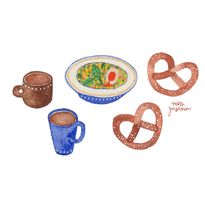 miss yasemin watercolour painting of tea cups and pretzels