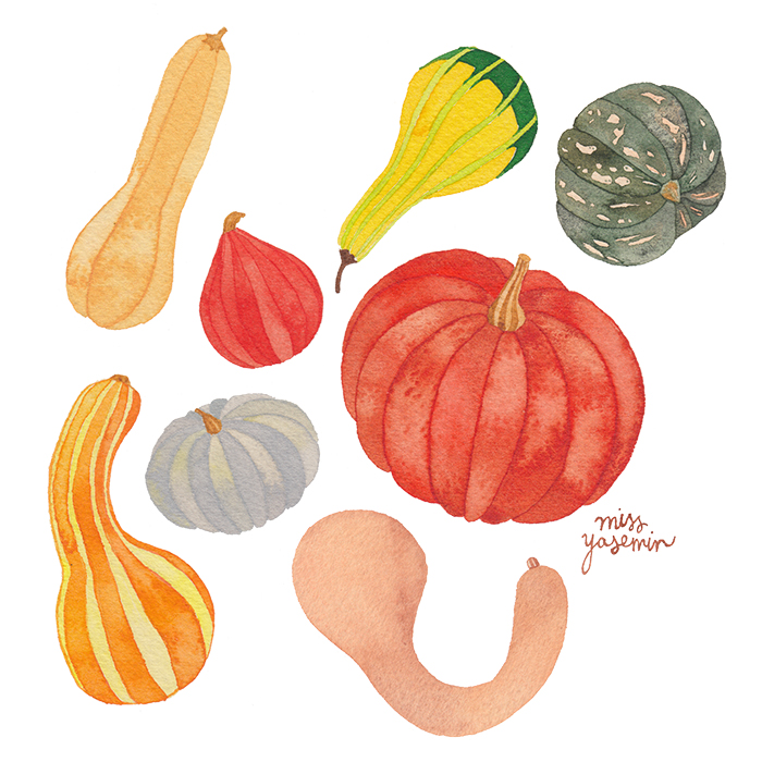 miss yasemin watercolour painting of pumpkins
