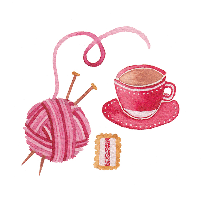 miss yasemin tea, knitting and iced vovo watercolour painting